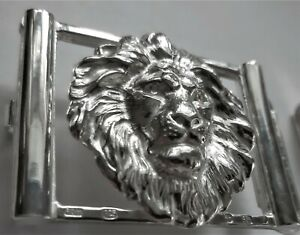 """Solid Sterling Silver """"The Lion"""" Belt Buckle"""