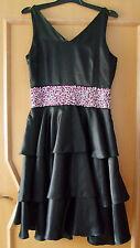 NICOWA Kleid schwarz m. Pailletten Partykleid Hochzeitskleid Abendkleid Gr.36/38