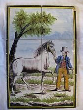 antikes Fliesentableau Pferd Utrecht polychrome Kachel Tegel Dutch Tiles 19.Jh