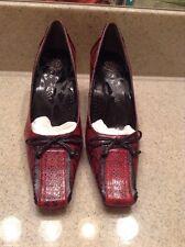 J.Renee Womens Chasity Dress Pump, Red/Black Snake Print 7 M  US Sale