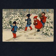 FRITZ BAUMGARTEN Kinder m Skiern / Children w Skis * AK um 1920 Litho PC