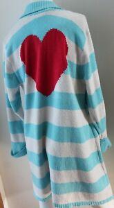 BETSEY JOHNSON Cardigan Sweater Size M womens Open Blue Striped Heart