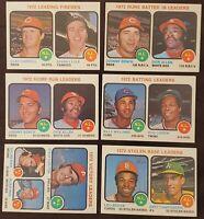 1973 Topps - 6 AL & NL Leaders Cards - RBI, Batting, SB, HR, Victory & Firemen