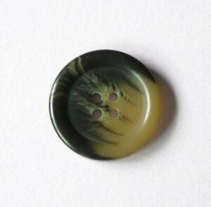 "Single Tortoiseshell Button Tan Black 4-Hole Flat Rim Vintage Blazer 1"" 25mm"