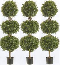 "3 Artificial 56"" Boxwood 3 Ball Bush Outdoor UV Topiary Tree 5 Fake 4' 8"" Patio"