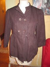 Paper Denim Cloth brown ruffle front peplum brown striped jacket  sz 3
