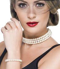 20s 50s Faux Pearl Fancy Dress Set Choker Necklace & Bracelet New by Smiffys
