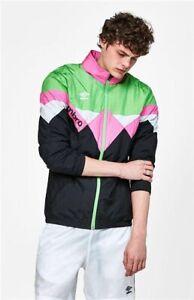Umbro Premier Colorblock Windbreaker Jacket 90s Men's Size XL Neon Green / Pink