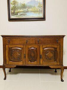 Antique sideboard buffet cabinet 2 Doors 2 Drawers One Shelf Old Oak Wood