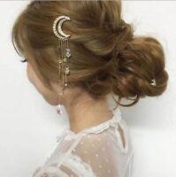 Beauty Moon Crescent Hair Clip Natural Crystal Pendant Hairpin Fashion Tassel