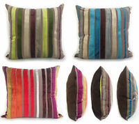 """Cushions Covers Scatter Cushions Velvet Velour Stripe Teal Lime Green Red 18x18"""""""