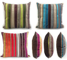 Cushions Covers Scatter Cushions Velvet Velour Stripe Teal Lime Green Red 18x18""
