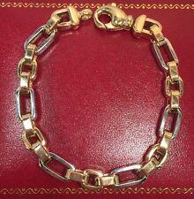 "Designer 14k Yellow White Gold Rolo Wheat Link Chain Unisex Estate Bracelet 6.5"""