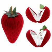 Cute Strawberry Flocking Ring Box Earring Pendant Jewelry Case Display Storage