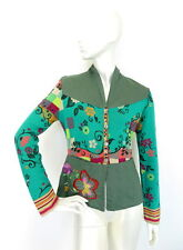 IVKO Jacquard Jacket Cardigan Cotton Linen Embroidered Emerald Floral size 40