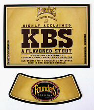 Founders Brewing 2015 KBS - FLAVORED STOUT beer label MI 12oz with neck Var. #3