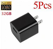 5Pcs 32GB 1080P USB Mini SPY Hidden Wall Charger Camera US Adapter Plug Cam