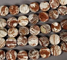"CLEAN & SIMPLE PETRIFIED WOOD JASPER 12MM COIN BEADS 16""  STRAND / 35 BEADS"