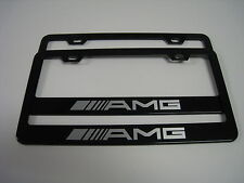 "2 Brand New mercedes-benz ""AMG"" BLACK Metal License Plate Frame Front&Rear"