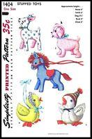 Simplicity 2921 Stuffed animals soft toys sewing pattern Elephant Horse Lamb Unicorn