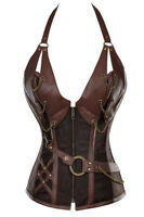 REDUCED Steampunk Brown Boned Faux Leather Zip/Lace Up Corset Bustier 14-16