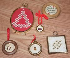 Unbranded Framed Cross Stitch Ornament Lot of 6 - Christmas & Vintage Style