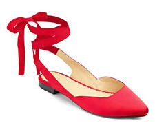 Sole Diva Red Ballerina Wrap Tie Flat Wide E Fit Shoes Size 4/37-  Ref 41