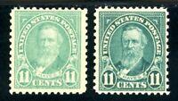 USAstamps Unused XF US Hayes Pair Scott 563 & 692 OG MNH