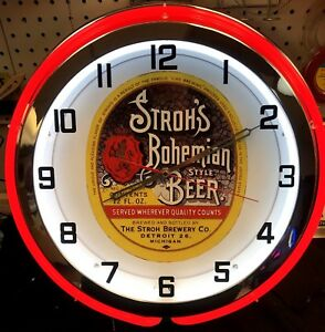 """18"""" Stroh's Bohemian Style Beer Sign Double Neon Clock"""