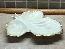 Lenox 24K Gold Trim Porcelain Leaf Shape Dish Candy Nut Bowl 8� X 8�