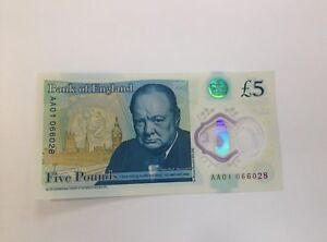 FIVE POUND NOTE POLYMER 2nd LOWEST SERIAL ON EBAY. AA01 066028 RAREST NOTE