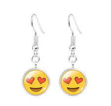 Cute Novelty Emoji Earrings Emoticon Kawaii  Heart Eyes Ear Drop Happy Emotion