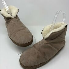 Old Friend 10 Slippers Booties Mens Sherpa Lined Sheepskin Fold Over Rubber Sole