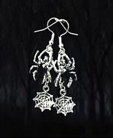 SCARY CREEPY BLACK CRYSTAL SPIDER WEB SILVER DANGLE EARRINGS~GOTH HALLOWEEN GIFT