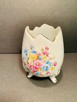 Vtg Norleans Japan Bisque Porcelain Egg Shape Vase Planter w/Painted Flowers