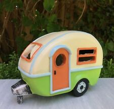 Miniature Dollhouse FAIRY GARDEN ~ Mini Retro Camper Trailer w Solar Light ~ NEW