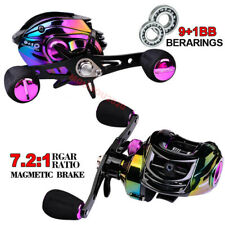 9+1BB Bait Casting Fishing Reel Low-Profile 7.2:1 Durable Fishing Wheel L/R Hand