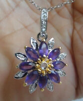 14pc0.17ct Real diamond+4.25ct Amethyst necklace Pendant chain 925 stamp Silver