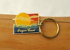 Oregon Coast Gold Tone Metal & Enamel Keychain