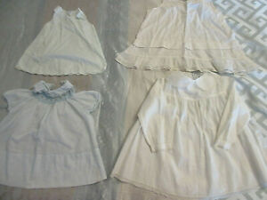 VINTAGE, Antique Lot of 2 BABY DOLL Dresses and Matching Slips, Blue & White