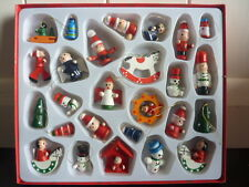 Set Of 26 Wooden Assorted Petite Christmas Tree/ Table Hanging Ornaments (J065)