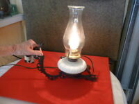 VINTAGE WROUGHT IRON LAMP WALL SCONCE FIXTURE AND GLASS LAMP ELECTRIFIED