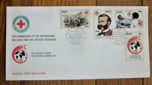 FIJI RED CROSS 125TH ANNIVERSARY FOUNDER HENRY DUMONT   4 STAMP SET 1989 FDC