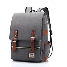 Women Men Canvas Backpack School Laptop Travel Rucksack Satchel  Shoulder Bag