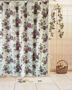 Romantic Purple Rose Button Hole Shower Curtain + Free 12 Hook Ring