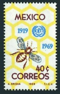 Mexico 1006 block/4,MNH.Michel 1311. ILO,50th Ann.1969.Honeycomb,Bee.