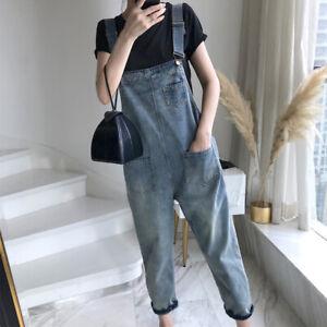 Ladies Cropped Trousers Denim Overalls Jeans Jumpsuit Dungaree Bib Pants Loose