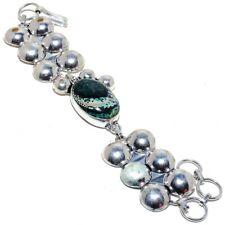 "Sterling Silver Bracelet 7-8"" Moss Agate Gemstone 925"