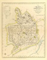 Map of Monmouthshire towns, gentleman houses election poll reform bill c1833