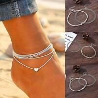 Retro Love Heart Ankle Bracelet Foot Chain 925 Silver Women Beach Anklet UK